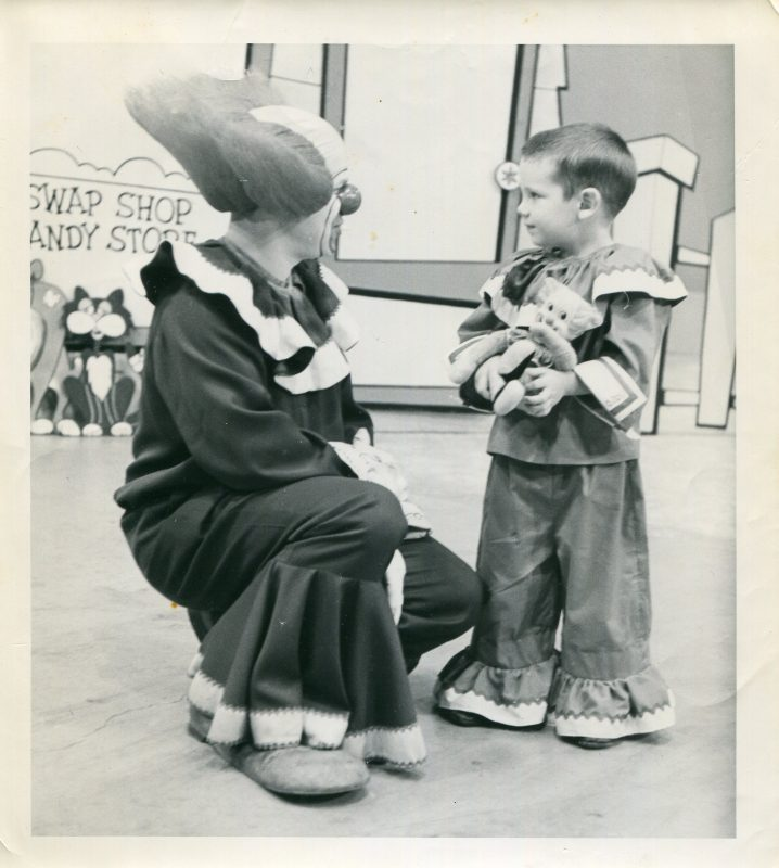 Bozo the Clown with youngster at WRAL