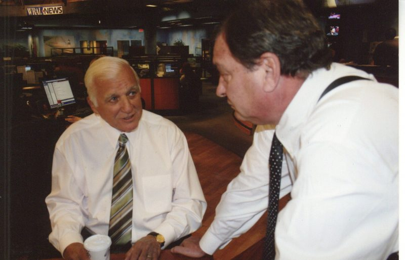 Gaddy and Hefner before WRAL 50th anniversary reunion newscast