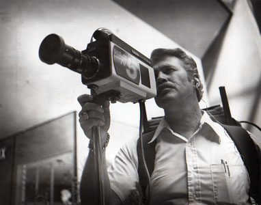 Jack Edwards with early videotape camera