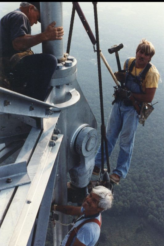 Tower crew working in the clouds