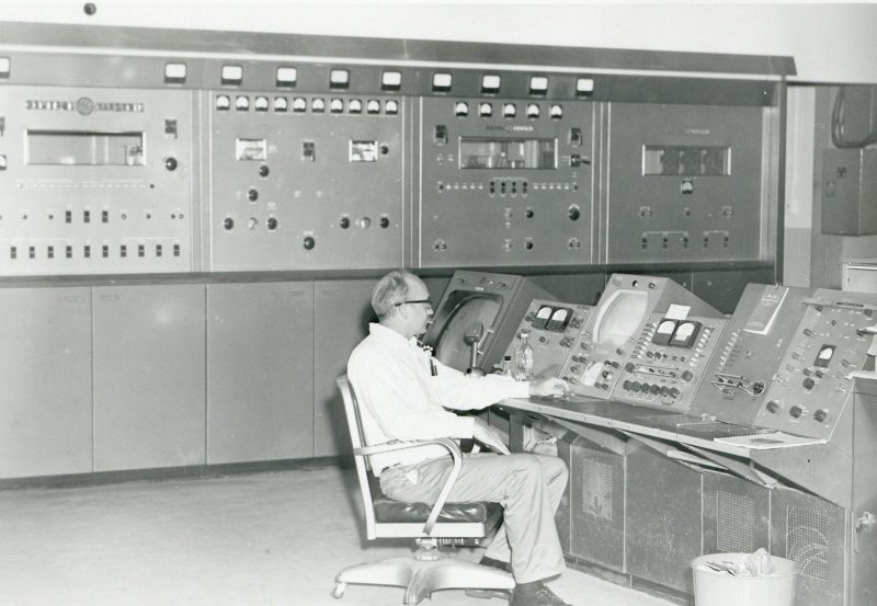 Transmitter engineer at work