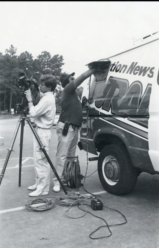 WRAL news crew with ENG microwave truck