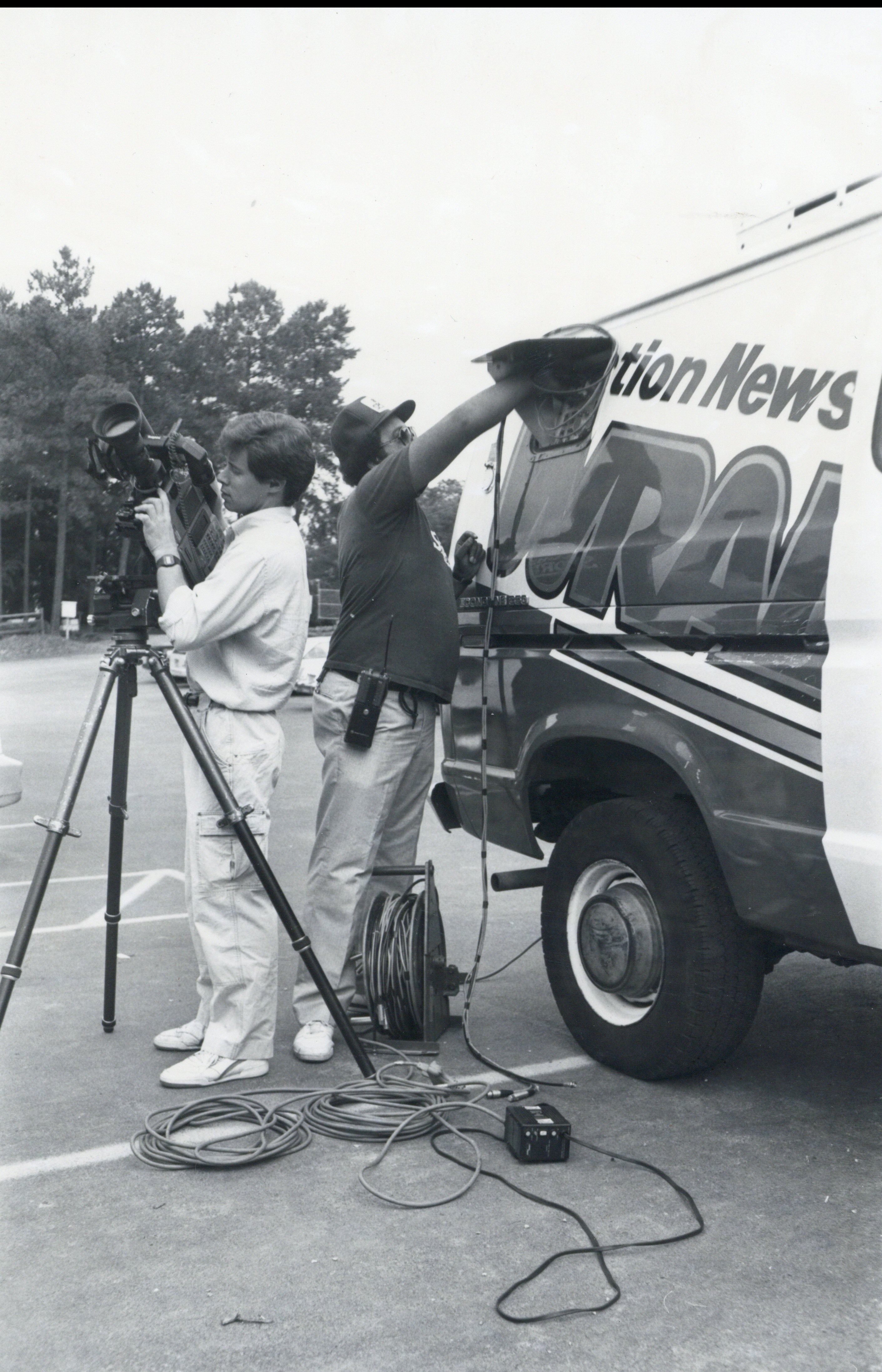 WRAL news crew with ENG microwave truck | CBC History
