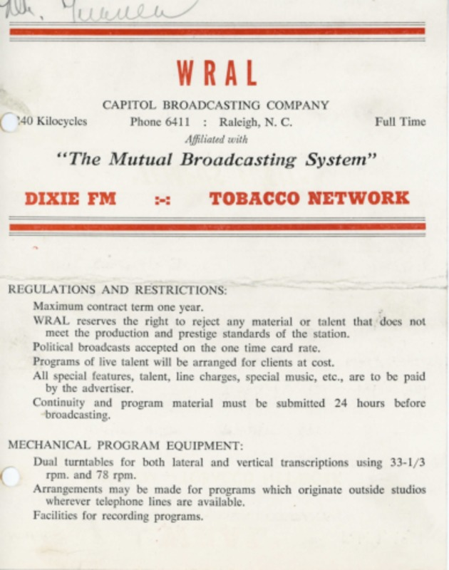 WRAL Radio rate card from 1951