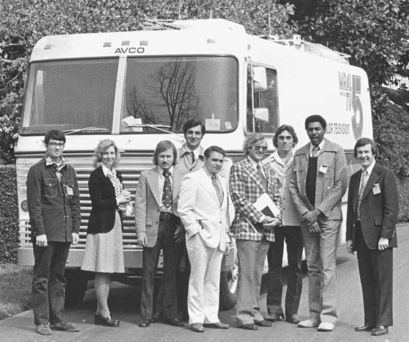 WRAL staff with first color remote production truck